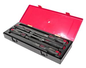 Набор напильников 200мм разнопрофильных с пластиковыми рукоятками в кейсе 5 предметов JTC-8052